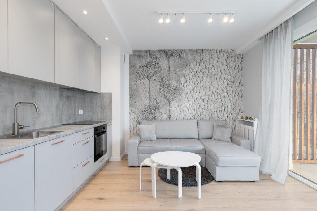 Fotografia salonu wraz z aneksem kuchennym w kolorach bieli i szarości w mieszkaniu we Wrocławiu